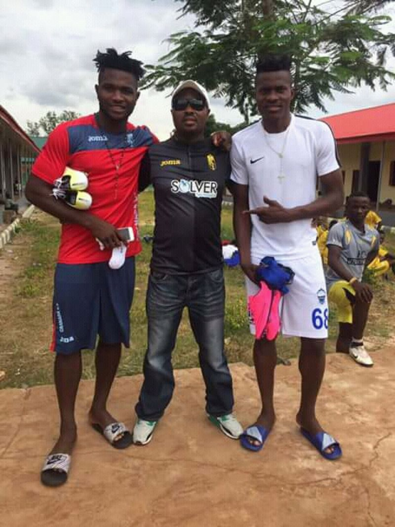 Photo shows Cadiz New signing Erimuya (right) standing with childhood friend and ex BJ Foundation teammate Isaac Success and grassroots coach Douglas Idahosa (middle)