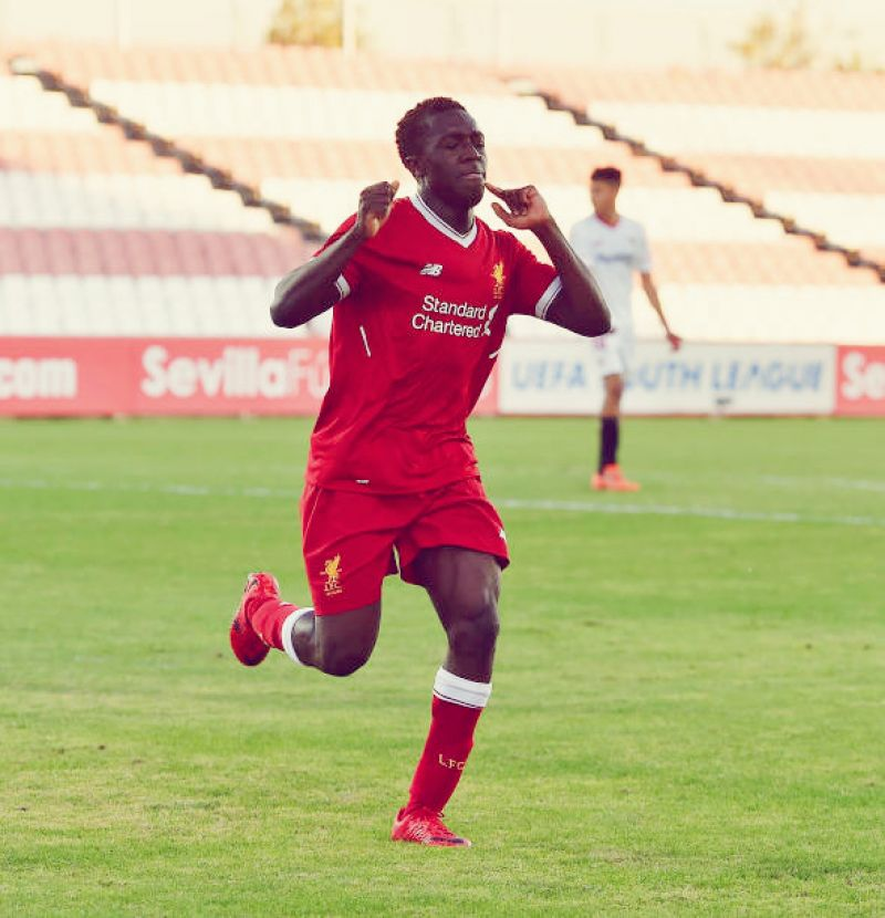 Nigerian Bobby Adekanye celebrating after scoring a goal for Liverpool youth team.