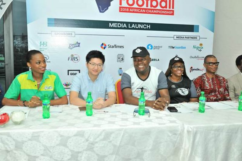 L-R: Ms Jumoke Oyewole-Lawuyi, Brand Manager, Sprite; Mr Scofield Wu, Manager, GAC Motors Africa; Mr.  Valentine Ozigbo; Chairman, Feet 'n' Tricks International; Mary-Callista Ozigbo; Mr. Iheanyi Nzekwe, Country Distributor of Scavi & Ray, during the Press Conference to announce the commencement the call for entries for Freestyle Football 2018 African Championship to be organised byFeet 'n' Tricks International in partnership with the World Freestyle Football Association (WFFA) ,in Lagos on Friday