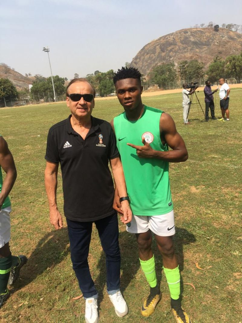 •Photo shows Pascal Durugbor and Super Eagles Coach Gernot Rohr