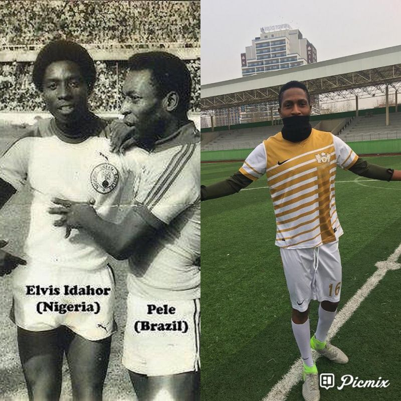 Pix-mix photo shows Elvis Idahor with Pele at the National Stadium in Surulere, Lagos in 1978 and (R) John Idahor in Turkey.