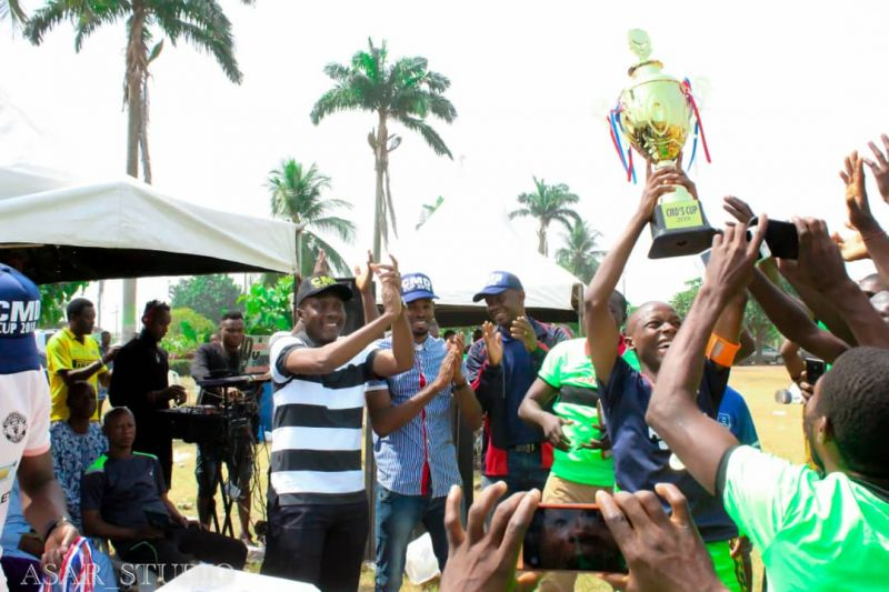 •Photo shows Rolly FC players celebrating with the UBTH CMD Cup they win late last year.