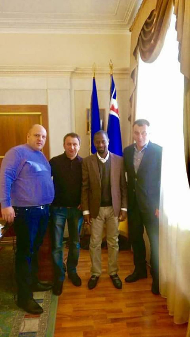 •Photo shows Aminu Othman (second right) with top Ukrainian football officials.